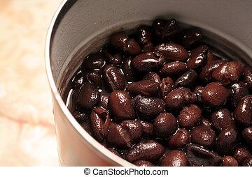 feijões pretos, em, um, lata