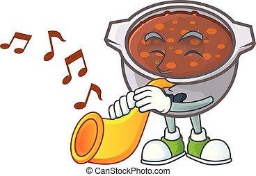 feijões, trompete, assado, fundo, branca