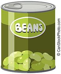 feijões verdes, lata, alumínio