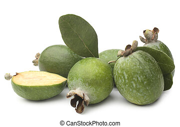 Feijoa with green leaves