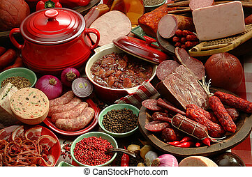 Photo of typical brazilian food using beans, meat and spices.