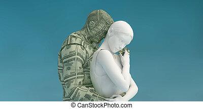 feindre, femme, intimité, argent