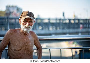 feine kunst, foto, porträt, von, älterer mann, mit, runzelig, closeup, gesicht