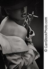feines kunst- portrait, von, a, schöne , dame, mit, zigarette, -, schwarzweiss, version