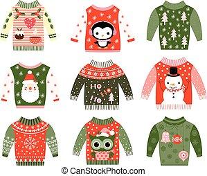 feio, camisolas de malha, verde, natal, vermelho
