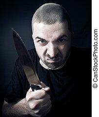 feio, criminal, com, faca, em, seu, mão