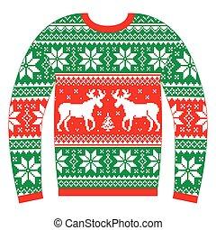 feio, suéter, jumper, ou, natal
