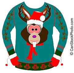 feio, suéter, para, natal