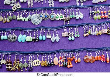 feira, feito à mão, venda, decorativo, brinco, jóia
