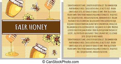 feira, honey:, vetorial, lados, cartão, modelo