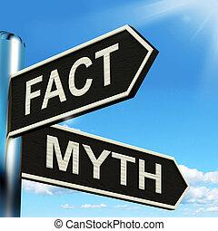 feit, mythe, wegwijzer, middelen, correct, of, onjuist,...