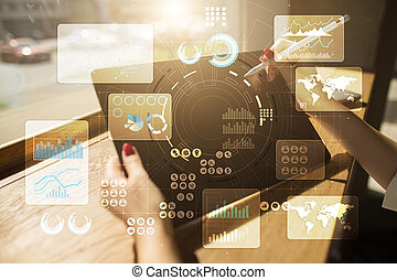 feitelijk, beroeren, screen., plan, management., data, analysis., hitech, technologie, oplossingen, voor, business., development.