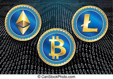 feitelijk, symbolen, van, de, munt, bitcoin, litecoin, en,...