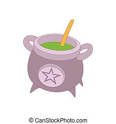 feiticeira, cauldron, com, verde, poção, ícone