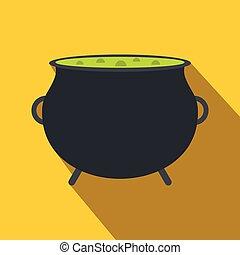 feiticeira, cauldron, com, verde, poção, apartamento