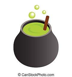 feiticeira, cauldron, com, verde, poção