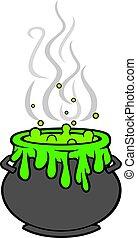 feiticeira, cauldron, com, verde, poção, vetorial, ilustração