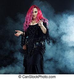 feiticeira, cria, magic., atraente, mulher, com, cabelo...