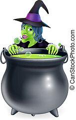 feiticeira, e, cauldron, caricatura