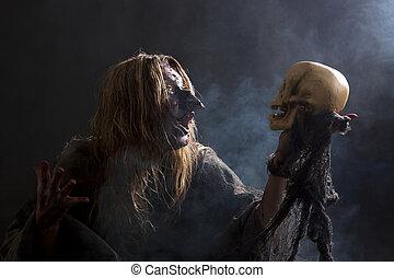 feiticeira, fala, com, cranio