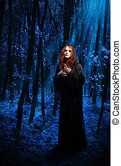 feiticeira, floresta, noturna