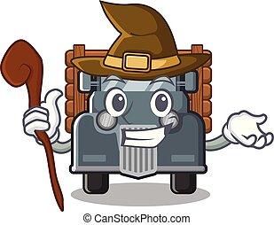feiticeira, forma, caminhão velho, mascote