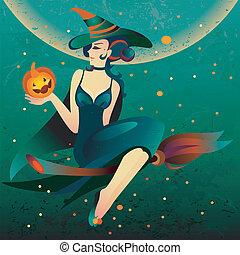 feiticeira halloween, cabo vassoura