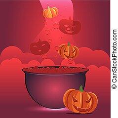 feiticeira halloween, cauldron