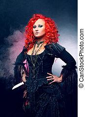 feiticeira halloween, cria, magic., atraente, mulher, com,...