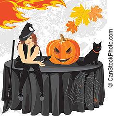 feiticeira halloween, gato, e, abóbora