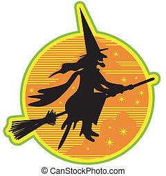 feiticeira halloween, retro, cabo vassoura