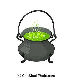 feiticeira halloween, s, cauldron, com, potion., dia das bruxas, ícone, isolado, branco, fundo