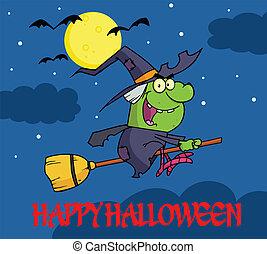 feiticeira halloween, saudação, feliz