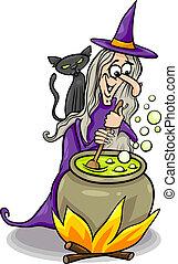 feiticeira, lançando, um, feitiço, caricatura, ilustração