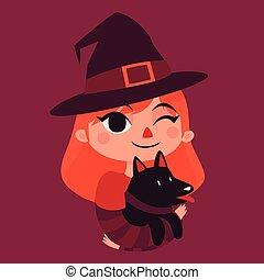 feiticeira, menina, cachorro preto, segurando