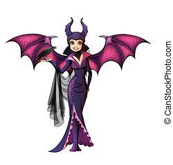 feiticeira, personagem, isolado, asas, caricatura
