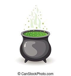 feiticeira, s, cauldron, com, verde, poção, para, dia das bruxas, isolado, branco, experiência., gráfico, elemento, para, seu, design., vetorial, illustration.
