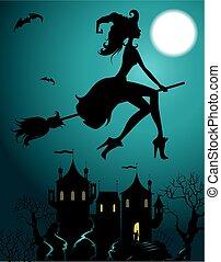 feiticeira, voando, bonito