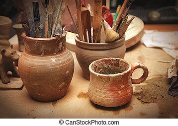 feito à mão, antigas, argila, potes