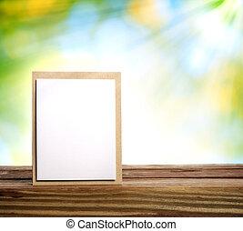 feito à mão, cartão, com, viga sol