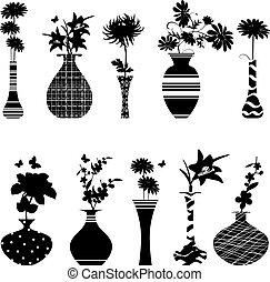 feito à mão, cobrança, desenho, vasos, flores, seu