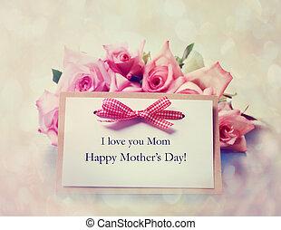 feito à mão, dia mães, cartão, com, rosas cor-de-rosa