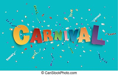 feito à mão, fonte, tipo, carnival., coloridos