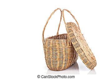 feito à mão, isolado, rattan, fundo, cesta, branca