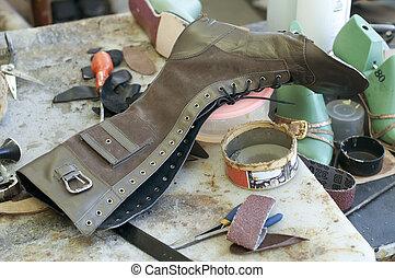 feito à mão, manufatura, botina, footwear., inacabado
