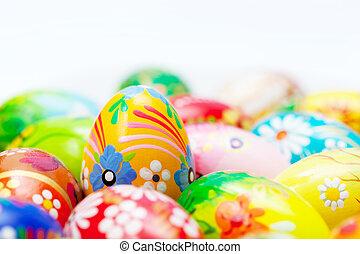 feito à mão, ovos páscoa, collection., primavera, padrões, arte, unique.