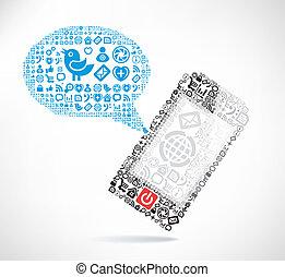 feito, ícones, móvel, texto, telefone, ??of, mensagem, balões