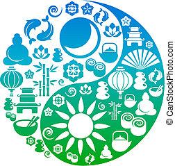 feito, ícones, símbolo, yin, zen, yang