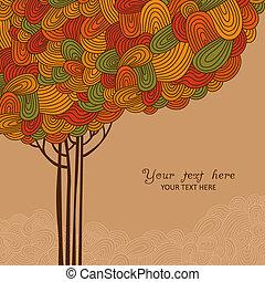 feito, abstratos, árvore, ilustração, outono, desenho, ondas, seu