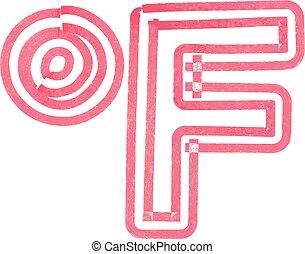 feito, abstratos, fahrenheit, marcador, símbolo, vermelho